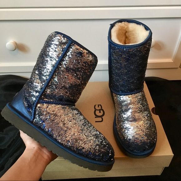 UGG Shoes   Navy Blue Silver Sequin